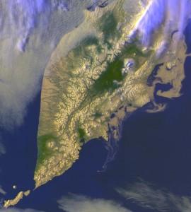 Полуостров Камчатка. Вид из космоса